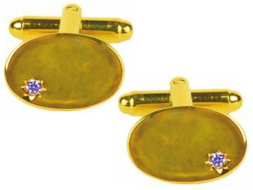 Real Sapphire Oval Cufflinks Gold Plated